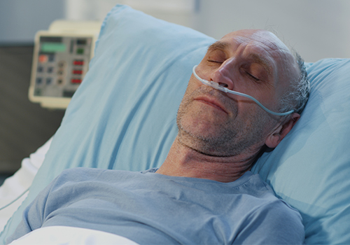 Patient using nasal cannula
